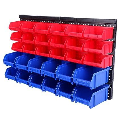 Yonntech 32 pcs Cajas apilables Organizador de herramientas Cajas de almacenamiento portátil multifuncional soporte de pared