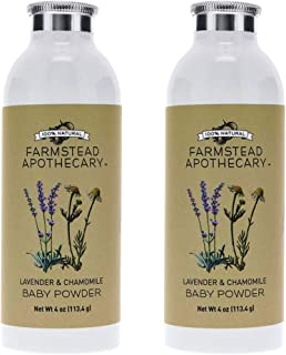 product image for Farmstead Apothecary 100% Natural Baby Powder (Talc-Free) with Organic Tapioca Starch, Organic Chamomile Flowers, Organic Calendula Flowers, Lavender & Chamomile 4 oz (Pack of 2)
