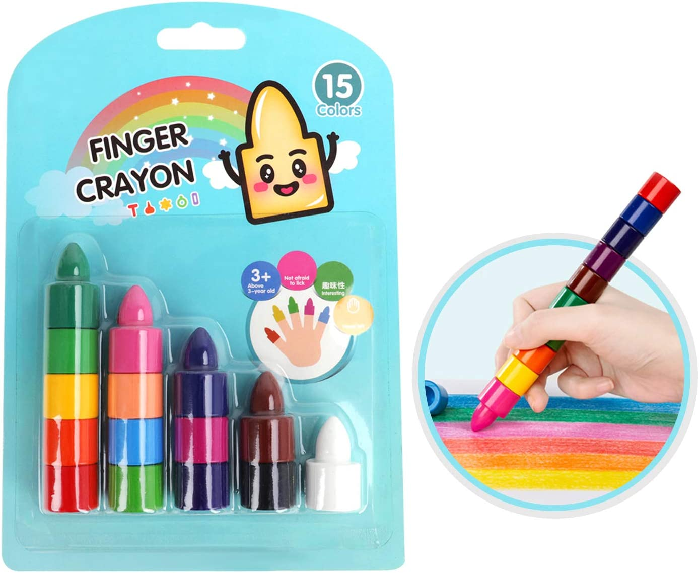 15 Colors Finger Crayons For Toddlers Washable Paint Crayons Sticks Toys for Children Kids Toddlers Baby Boys /& Girls Safe Non-Toxic Stackable Palm-Grip Crayons