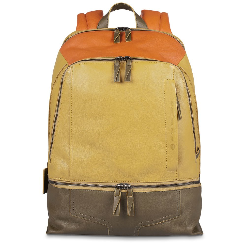 Piquadro Computer Backpack with iPad Air Case Bottle Holder, Yellow/Orange, One Size