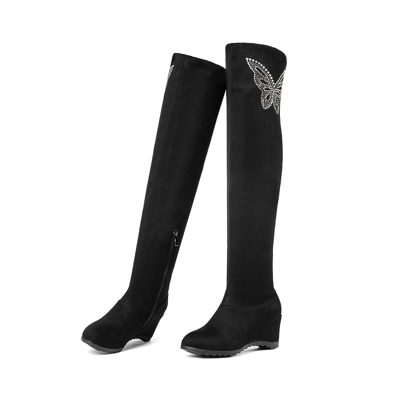 d3ac640ac4c866 Frauen Keilabsatz elastisch hoch über Knie dem Knie über Lange Stiefel  d351e0