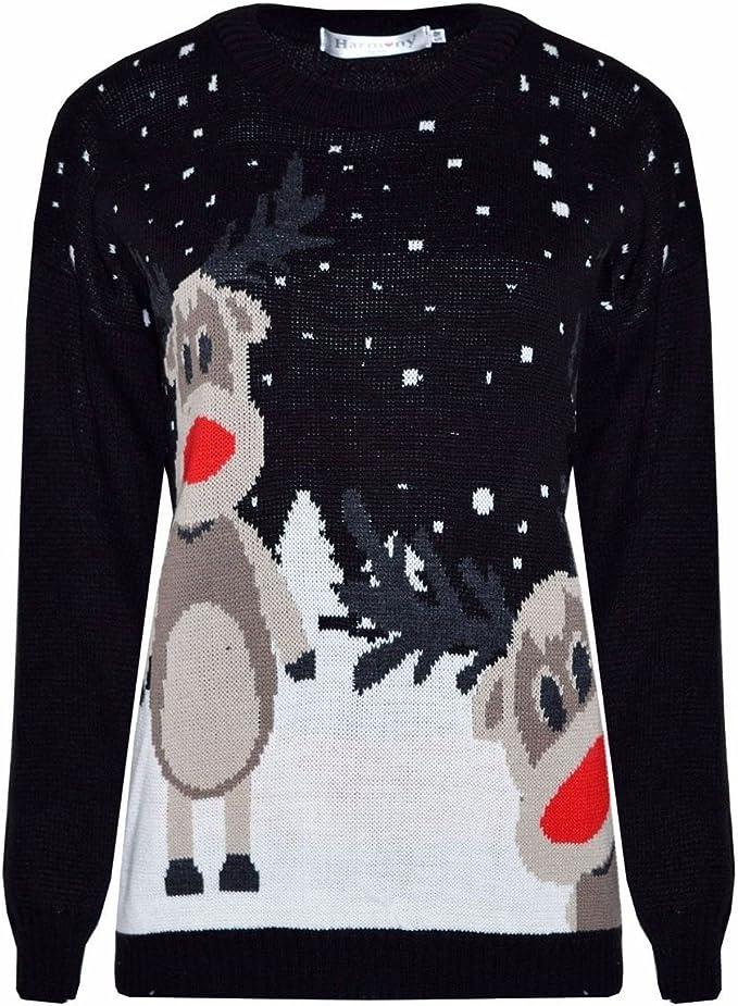 Neuf femmes femmes hommes unisexe renne twin rudolph pingouin de noël pull