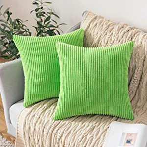 MIULEE Decorative Throw Pillow Covers Pack of 2 Corduroy Soft Soild Pillow Cases Square Outdoor Pillowcases for Cushion Couch Sofa Bedroom Living Room 20 x 20 Inch, Apple Green