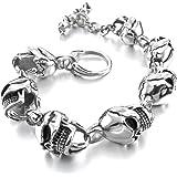 MunkiMix Acier Inoxydable Bracelet Lien Poignet d'Argent Or Deux Ton Crâne Homme
