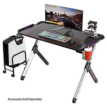 Eureka Ergonomic R1 S Gaming Tisch Gaming Schreibtisch Gaming Computertisch Pc Schreibtisch Gamer Mit Rgb Beleuchtung Rot Mauspad Getrankehalter Und