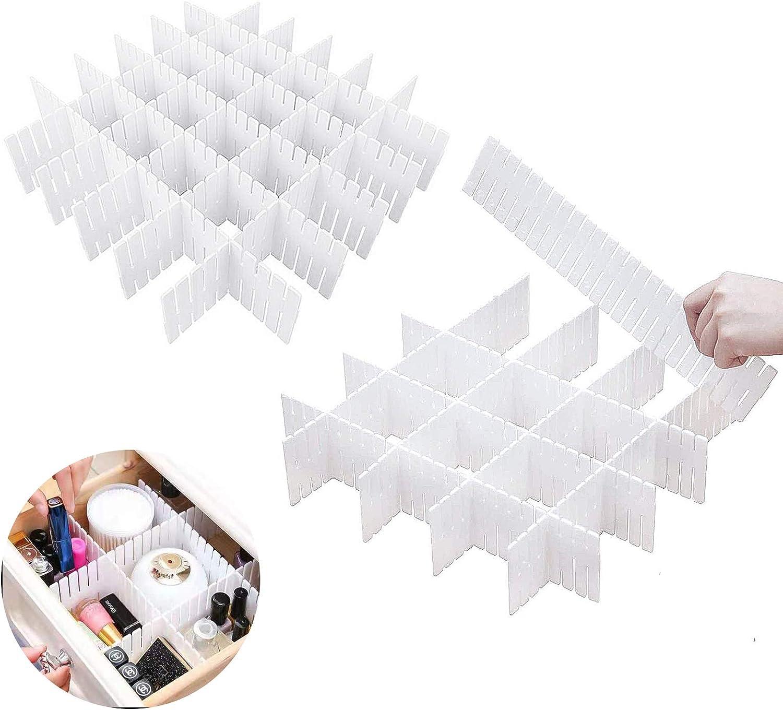 KARAA 16 Piezas Rejilla Ajustable Separadores Cajones Blanco Cajón Divisores Organizador de Cajones Plástico Separador de Armario para Ropa Interior Sujetador Calcetines Y Accesorios