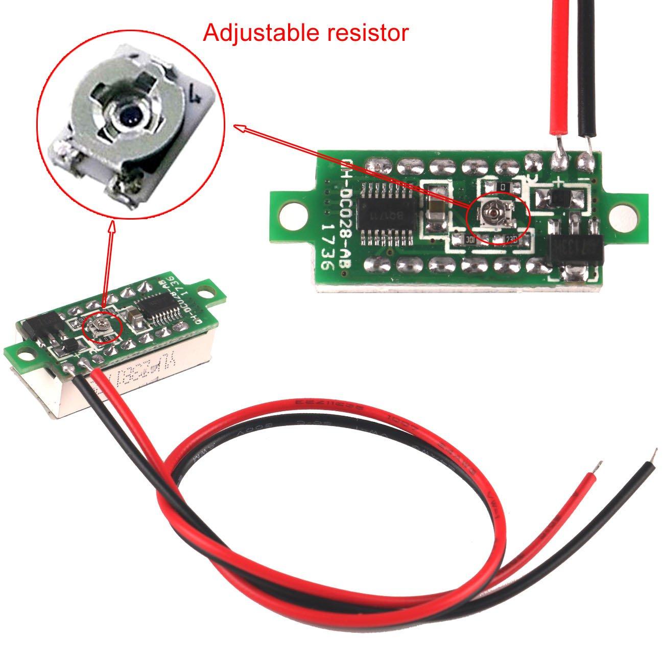 MakerFocus 5pcs Mini Digital DC Voltmeter 0.28 Inch Two-Wire 2.5V-30V Mini Digital DC Voltmeter Voltage Tester Meter 5 Colours by MakerFocus (Image #5)