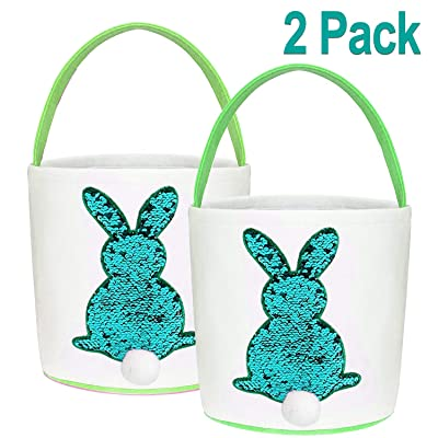 iGeeKid 2 PCS Easter Eggs Hunt Basket for Kids Sequin Bunny Basket Egg Bags Rabbit Fluffy Tails Carry Bucket Tote for Easter Party Celebrate Decoration Gift Toys (Green+Green): Home & Kitchen