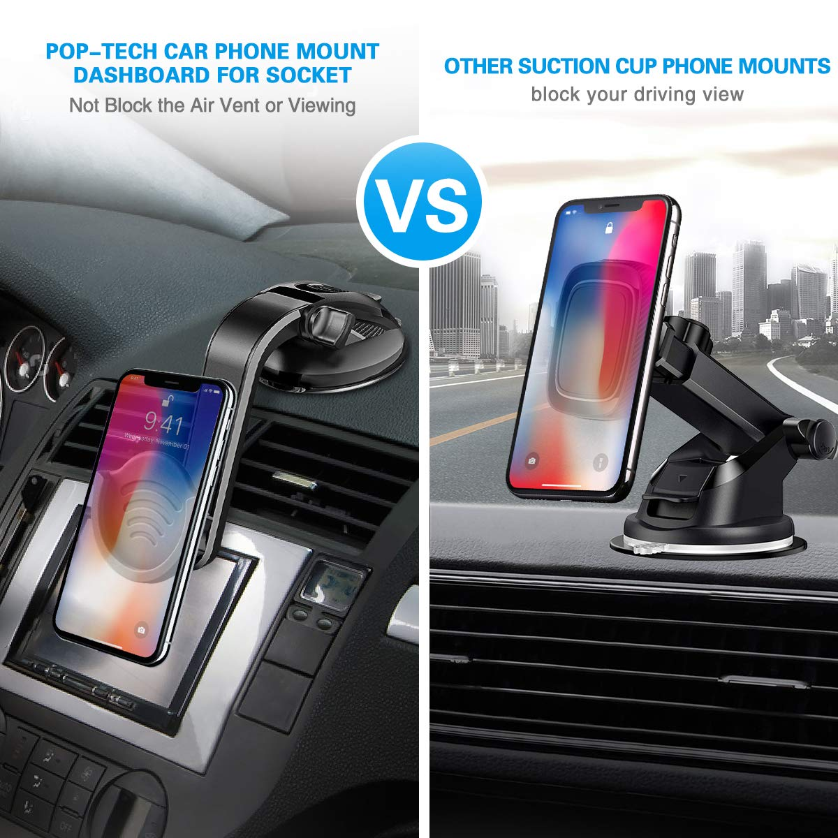 Suction Cup Phone Holder for Socket Users pop-tech Dashboard Car Phone Mount for Collapsible Grip with Adjustable 360/°Rotation Includes 3M Sticky Adhesive Replacement for Expanding Stand Black