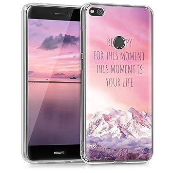 kwmobile Funda compatible con Huawei P8 Lite (2017) - Carcasa de TPU y diseño Be happy for en rosa claro / violeta / coral