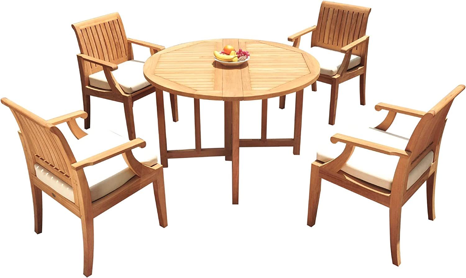 "4 Seats 5 Pcs Grade-A Teak Wood Dining Set: 48"" Round Butterfly Table and 4 Lagos Arm Chairs #11LG0105 71sZiJmIKHLSL1500_"
