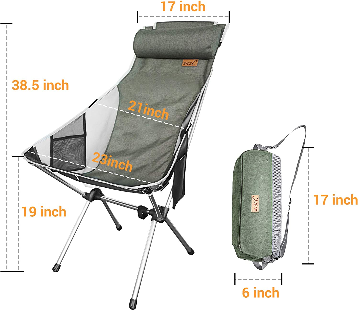 BBQ Travel Picnic Nice C Ultralight High Back Folding Camping Chair Outdoor Beach Backpacking Compact /& Heavy Duty Outdoor Camping with Headrest Festival with Carry Bag