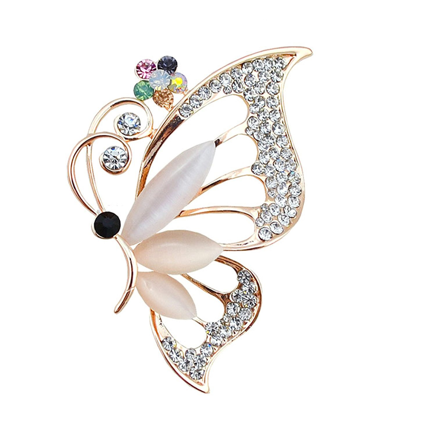 PANGRUI Clear Crystal Rhinestone Butterfly Insect Pins Brooches Jewelry (gold)