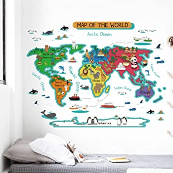 Amazon homeevolution large kids educational animal landmarks dktie large kids world map wall decals peel and stick for kids room bedroom nursery decor art decal removable wall stickers quotes gumiabroncs Choice Image