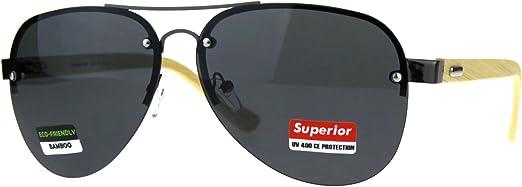 Men Women Bamboo Wooden Arms Metal Frame Pilots Pilot Sunglasses Shades UV400