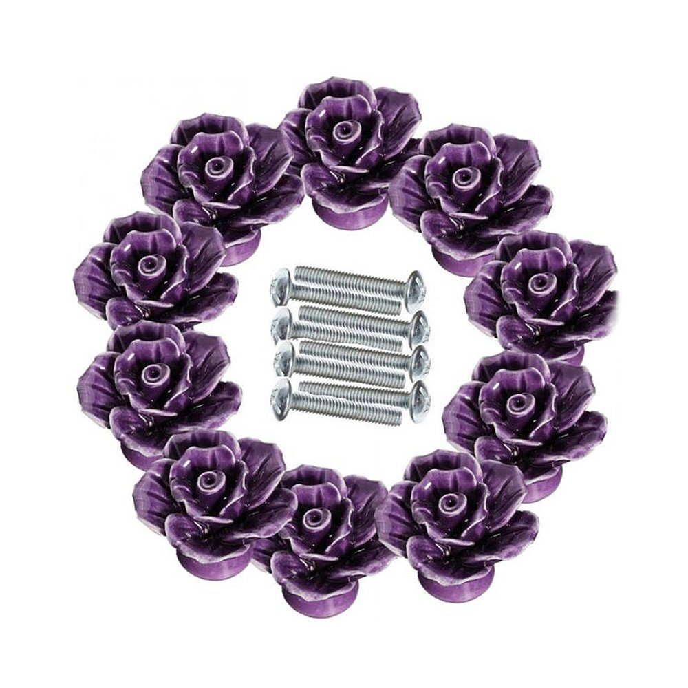 Ya Jin 10PCS Rose Flower Ceramic Kitchen Cabinet Cupboard Pull Handle Knobs with Screw, Purple