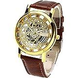 Om Designer Transparent Analog Gold Dial Brown Strap Men's & Boy's Watch