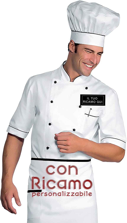 Giacca Cuoco Nome Ricamato Personalizzabile Online Modello Durango Nero-Rosso Sushi Isacco Ricamo Gratis
