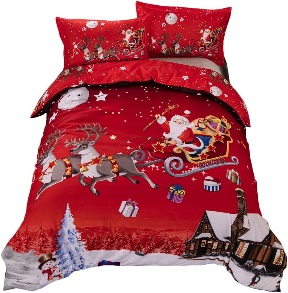 Youareking® Merry Christmas 3 Pieces Duvet Covers Set with 2 Shams, Santa Claus Pattern Bedding Cover Set,Full