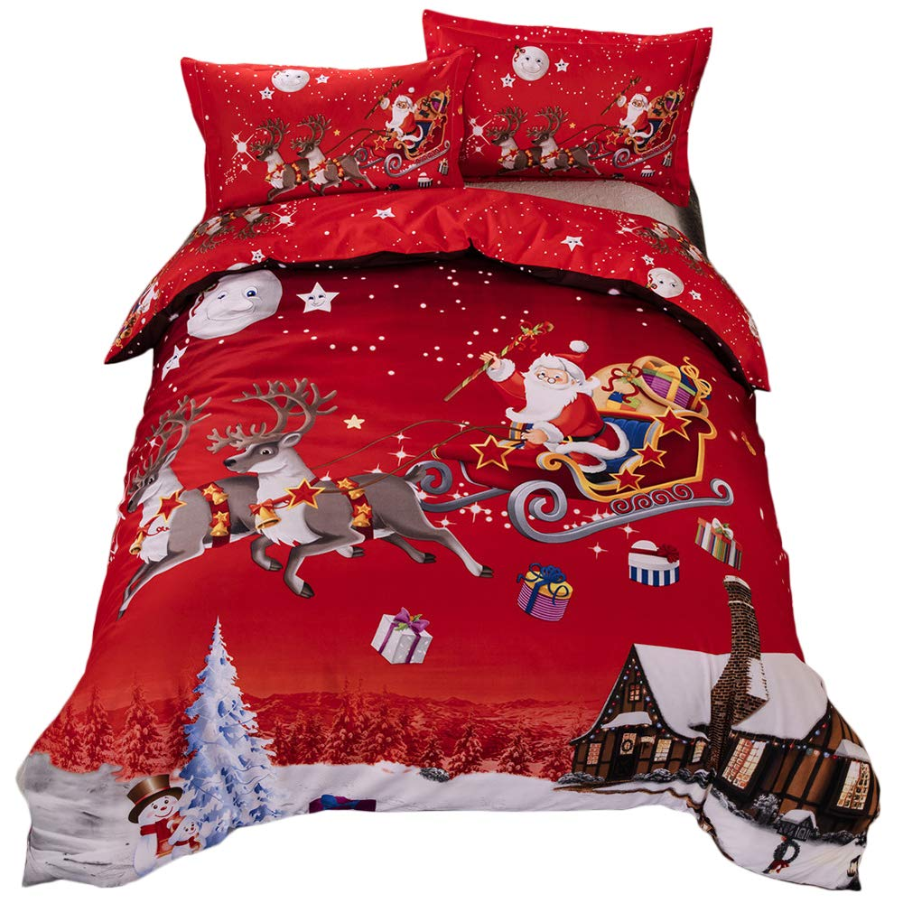 Youareking® Merry Christmas 3 Pieces Duvet Covers Set with 2 Shams, Santa Claus Pattern Bedding Cover Set,Twin