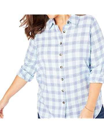 0632a8609b Woman Within Women s Plus Size Classic Flannel Shirt