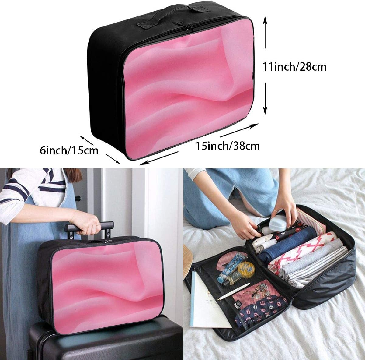 Yunshm Fabric Pink Tender Wallpaper Background Standard Customized Trolley Handbag Waterproof Unisex Large Capacity For Business Travel Storage