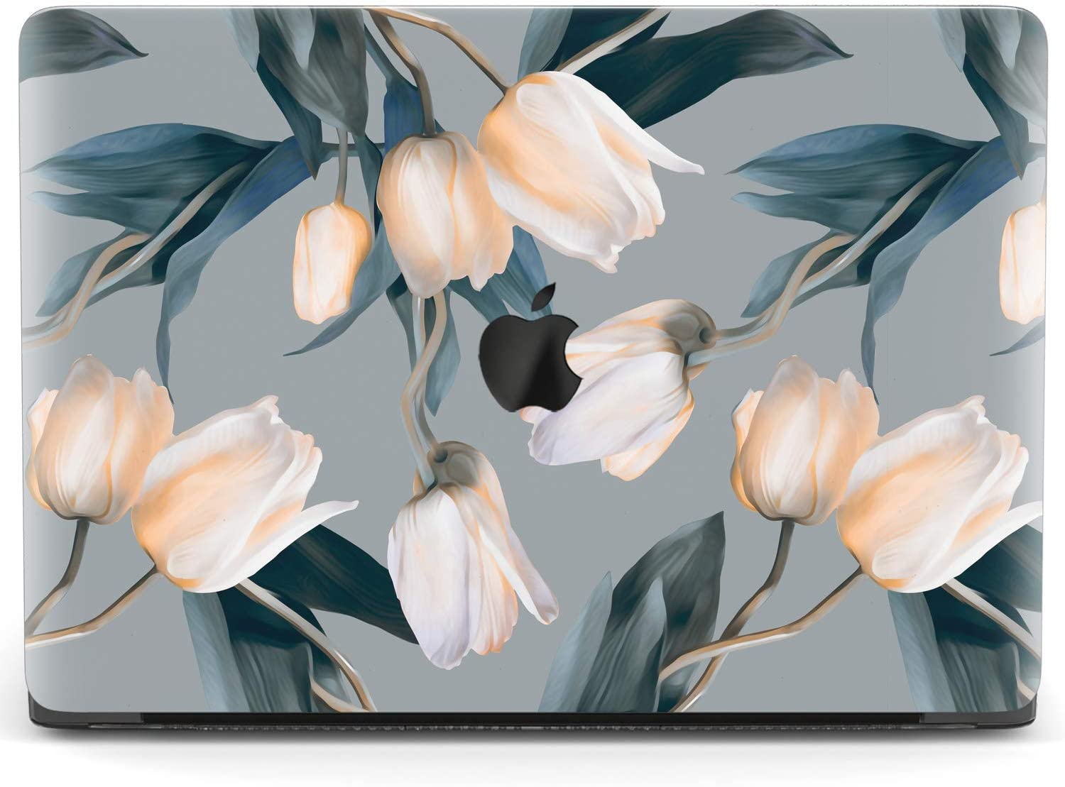 Mertak Hard Case for Apple MacBook Pro 16 Air 13 inch Mac 15 Retina 12 11 2020 2019 2018 2017 Protective Plastic Clear Design Floral Spring Aesthetic Print Tulips Laptop Cover White Flowers Gray