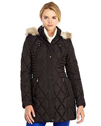 Laundry By Design Womens Quilted Walking Coat W Removable Faux
