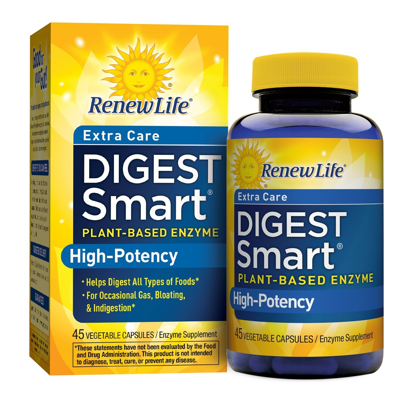 Renew Life - Digest Smart Extra Care - gas, bloating, and digestive relief, plant-based enzyme supplement - 45 vegetable capsules