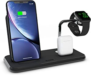 ZENS Wireless Aluminium Docking Station, 10-Watt Stand, Lightning Dock, and Watch Charger, Qi and MFI Certified, Supports Apple Fast Charger, Power Adaptor Included, Black