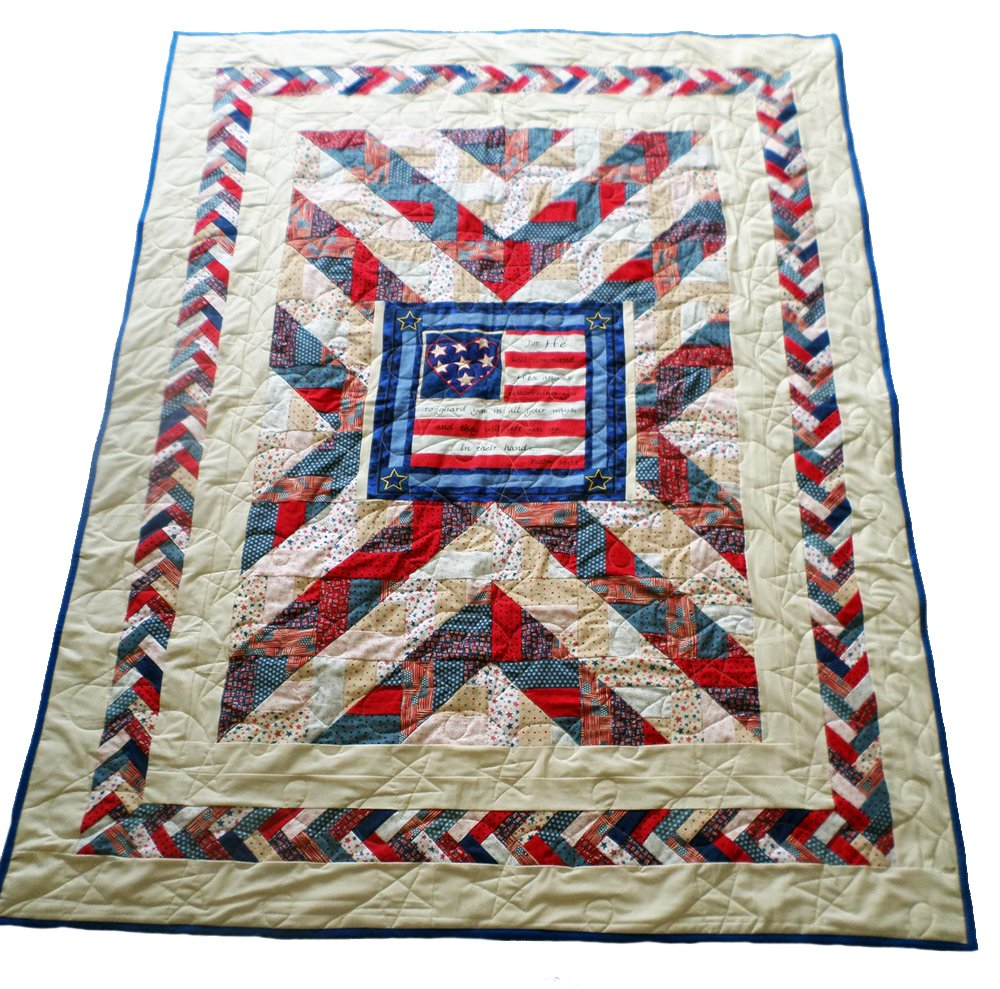 Patriotic Quilt with Psalm 91:11 - Handmade, Machine Quilted 56'' x 72'', Angels charge over thee...