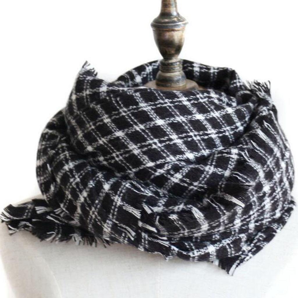 Otoño e invierno Pareja bufanda Moda Más grueso Multiuso Dos colores enrejado chal