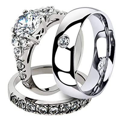 Marimor Jewelry His & Her 3 Pc Stainless Steel 2.50 Ct Cz Bridal Set & Men