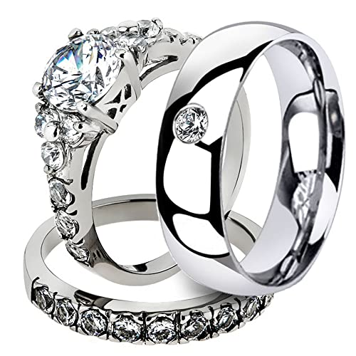 Amazon.com: Marimor Jewelry His & Her 3 Pc Stainless Steel 2.50 Ct Cz Bridal Set & Men Zirconia Wedding Band Womens Womens Size 05 Mens Size 05: Jewelry