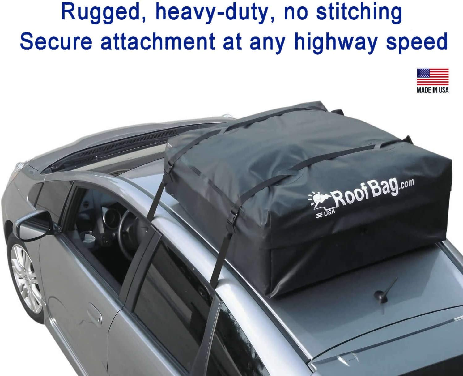 Car Top Carriers for Vehicles with Racks or Without Racks Made in USA RoofBag Rooftop Cargo Carrier Includes Roof Protective Mat 11 Cubic Feet 2 Year Warranty