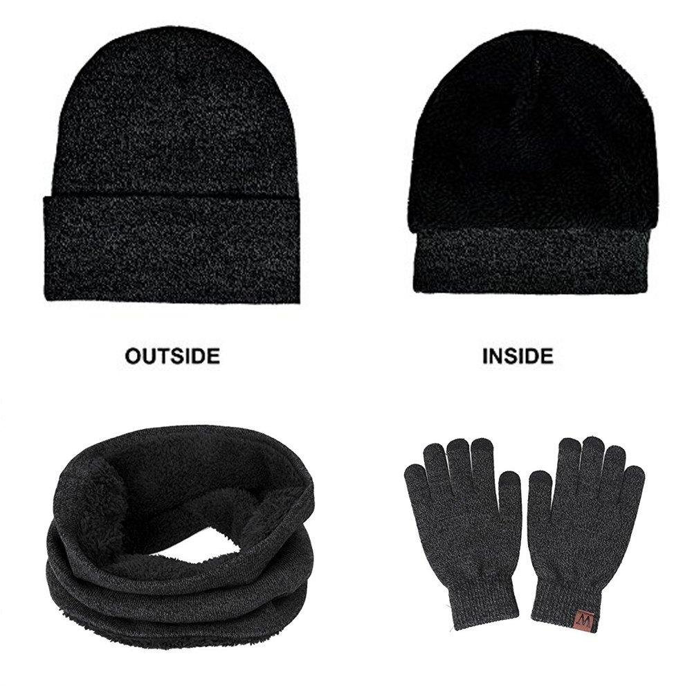 MIMINUO - Ensemble bonnet, écharpe et gants - Homme (Gris)  Amazon.fr   Sports et Loisirs 89453d3f893