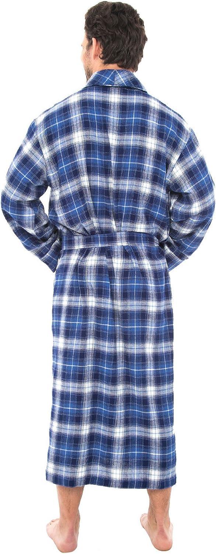 Alexander Del Rossa Mens Lightweight Flannel Robe Soft Cotton Kimono