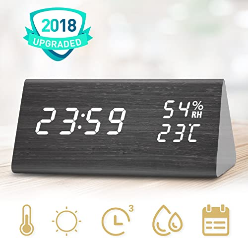 Wooden Alarm Clock, LED Clock With Three Alarms, Alarm Clock for Bedrooms, Digital Clock In 12 24 Time Display Format, 3 Levels Brightness, Date Temperature and Humidity LED Display