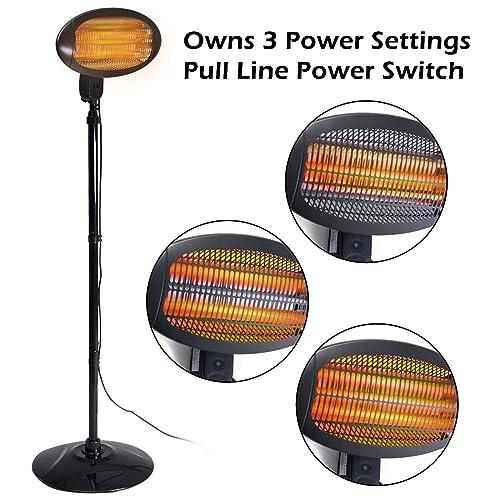 CASART 2KW Outdoor Heater Electric Quartz Indoor Outdoor Garden Patio Waterproof Two Style Free Standing/Wall Mounted (Free Standing Style)