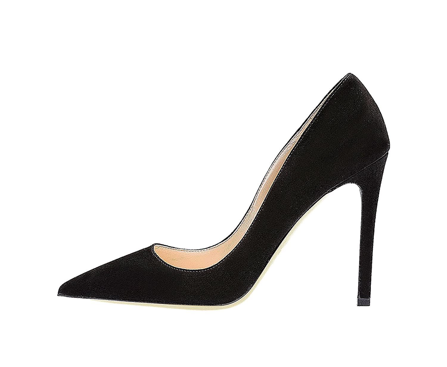SexyPrey Women's Pointy Toe Stiletto Shoes Formal Office Evening Pumps B074M47MBW 9 B(M) US|Black Suede
