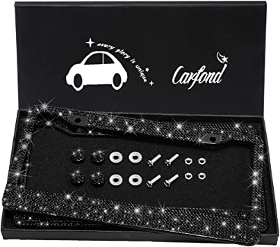 2 Pack Luxury Handcrafted Bling Black Rhinestone Premium Stainless Steel License Plate Frame with Gift Box Anti-Theft Screw Cap pcs Finest 14 Facets SS20 Clear AB Rhinestone Crystal 1000
