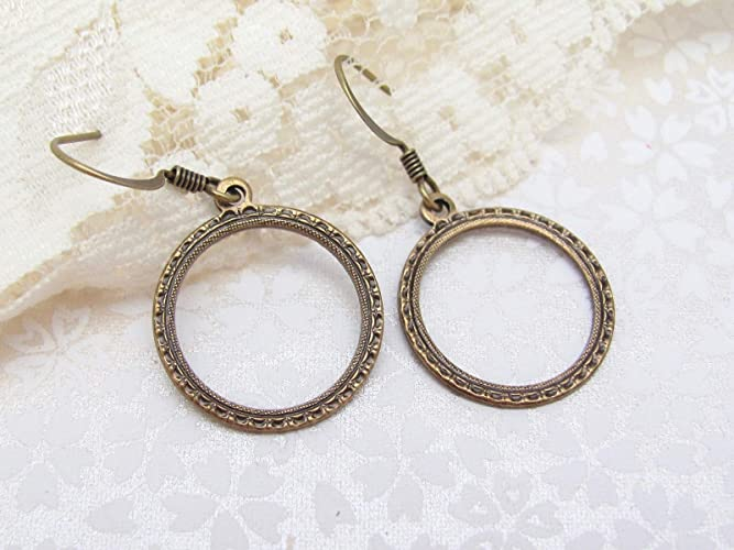 97e82ef4f Amazon.com: Art Deco Design Hoop Earrings Antiqued Gold-tone Oxidized Brass  Boho Bohemian Jewelry: Handmade