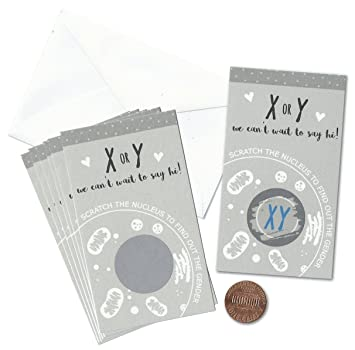 x or y chromosome science gender reveal mini scratch cards pack of 24 by