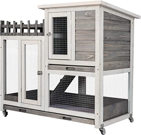 Scurrty 2 Stories Rabbit Hutch Pet Hutch Animal Hutch for Small Animals Wooden Bunny House with Run Bunny House Indoor /& Outdoor