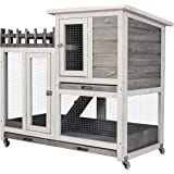 Scurrty Rabbit Hutch Indoor and Outdoor Bunny Cage on Wheels Guinea Pig Cage Deep No Leak Pull Out Tray Coop Bunny Cage…