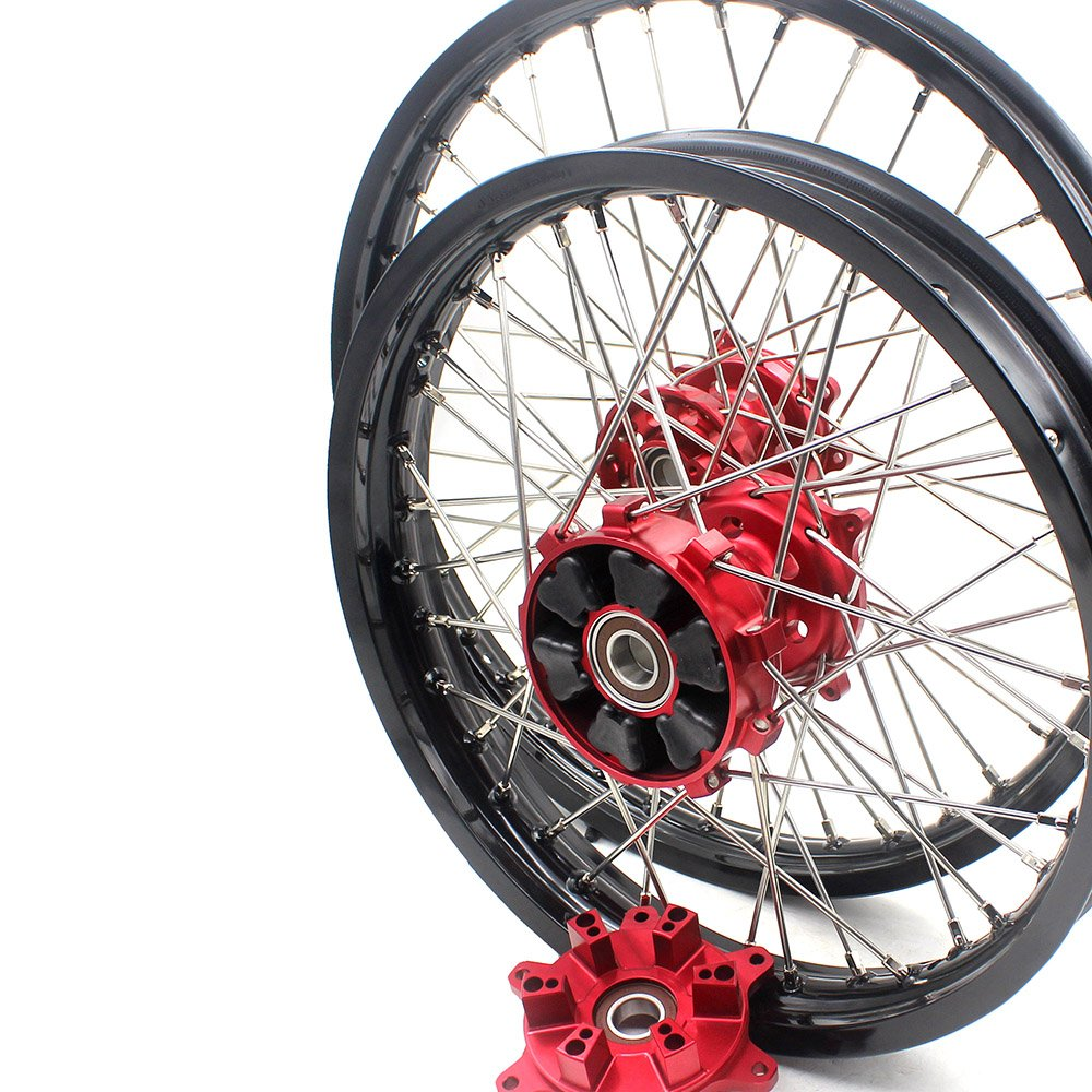 KKE HONDA ENDURO CNC CUSH WHEEL 21/18 CRF450R 02-12 CRF250R 04-13 RED HUB