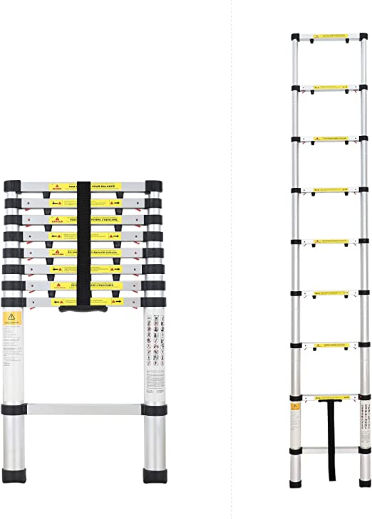 Todeco - Escalera Telescópica, Escalera Plegable - Carga máxima: 150 kg - Número de peldaños: 9-2,6 Metro(s), EN 131-6, Brecha extra: Amazon.es: Bricolaje y herramientas