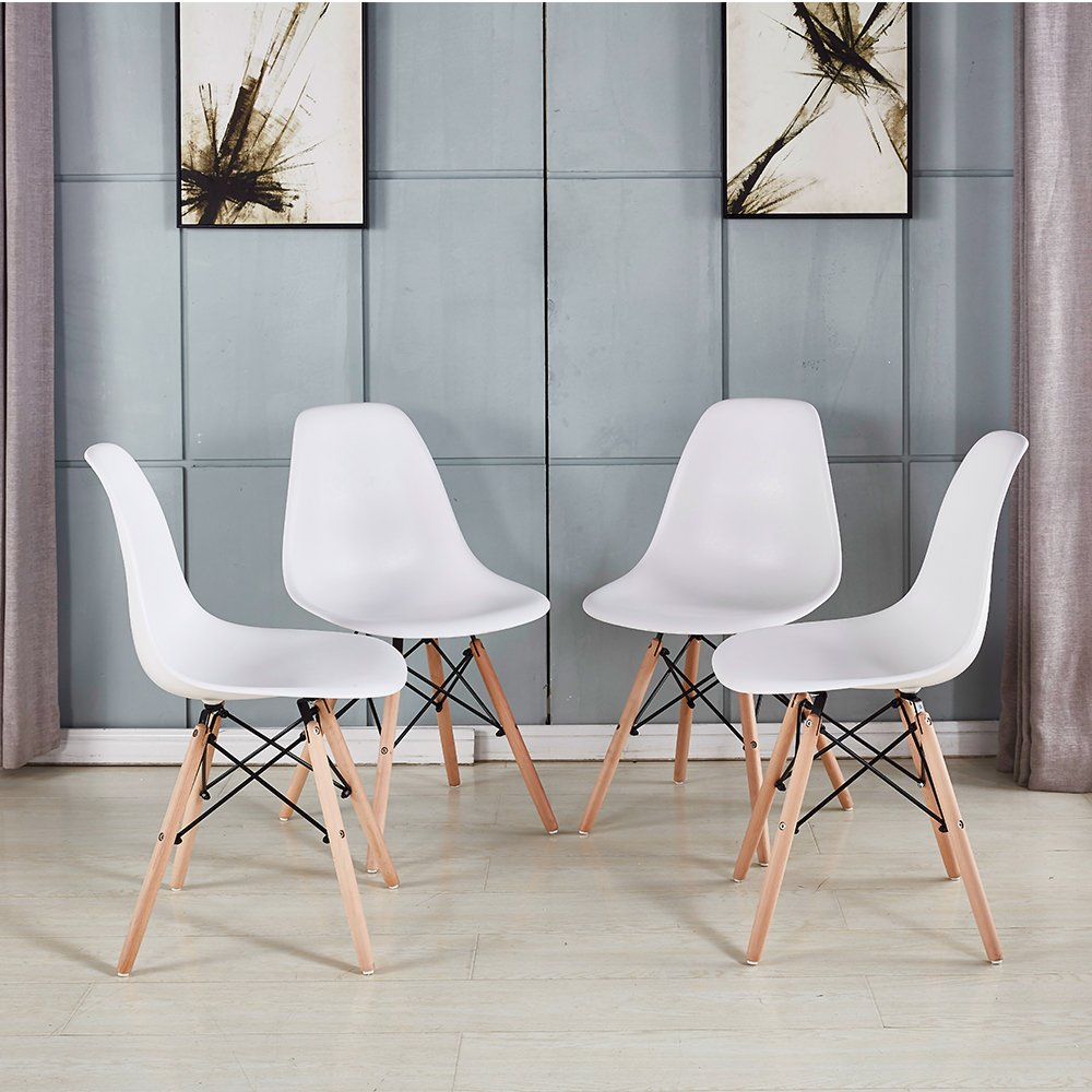 Eames Dining Room Side Chair (set of 4) White ABS Plastic Chairs ...