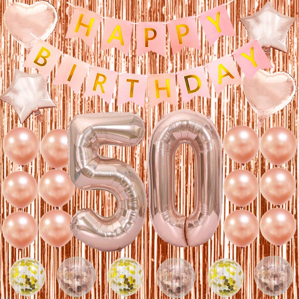 Amazon Com 50th Birthday Decorations For Women Mom Her 50 Party Decorations 50 Rose Gold Balloons Toys Games