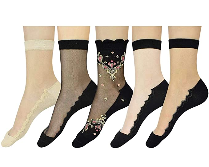 Exklusive Angebote verschiedene Farben verschiedene Farben Tuopuda 5 Paar Damen Fischnetz Söckchen Netz Socken Netzstrümpfe ankle  socks Netzstrümpfe Kurze Knöchel Socken Socken mit Stickerei Blume